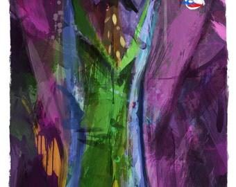 "Gotham's Worst Mister J Joker Abstract Art Panel, 11"" x 17"" art print mounted on board"