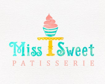 Bakery logo design, watercolor cupcake logo, feminine design, business branding