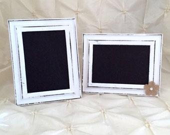 Chalkboard Frame White Distressed Wood Picture Frame Rustic Wedding Sign Table Numbers Framed Chalkboard Shabby Chic Vintage Wedding 3.5 X 5