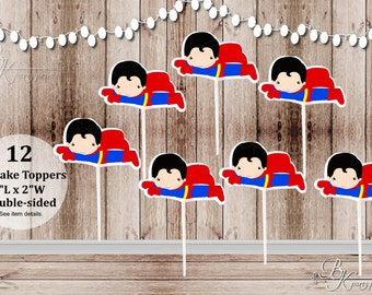 Action Superhero Boy Party - Set of 12 Superman Inspired Double Sided Cupcake Toppers