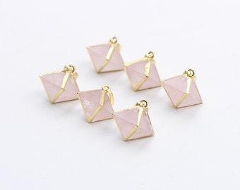 Rose Quartz Pendant -- With Electroplated Gold Edge Pink Quartz Charms Wholesale Supplies YHA-094