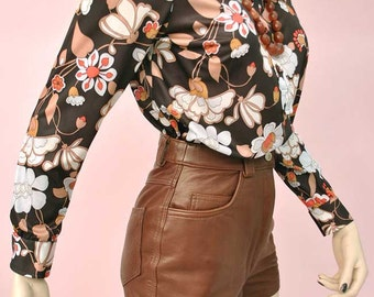 Vintage 60s Brown Leather Hot Pants • Leather Shorts • Pan's People