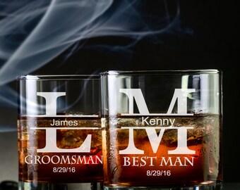 1 Groomsmen Rocks Glass -  Groomsmen Whiskey Glass - Groomsmen Scotch Glass - Groomsmen Bourbon Glass - Custom Whiskey Glass - Rocks Glass