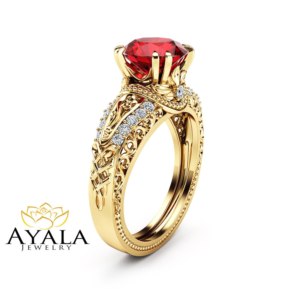 Unique Ruby Engagement Ring 14K Yellow Gold Vintage Ring