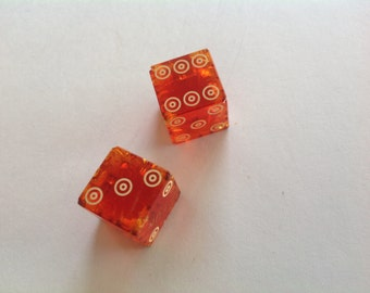 Pair of red Vintage 50s casino bull's-eye dice