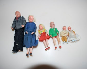 Choose One: Caco Vintage Dollhouse Dolls Grandparents Grandfather Grandmother Brother Sister Baby German West Germany
