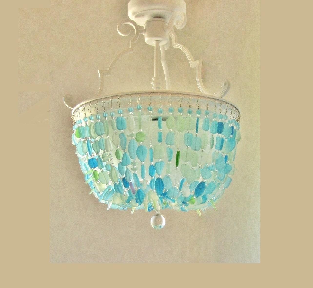 Aqua Glass Chandelier