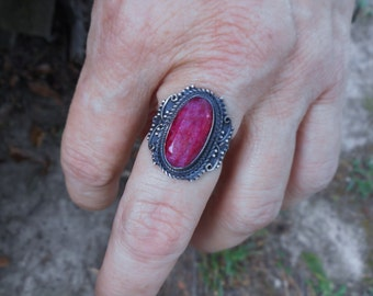 Red ring, red ruby ring, oxidized silver ring,ruby ring, red rings,size 8 1/2 ring, ruby red ring, red ruby jewelry, oval ring, gothic ring