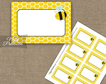 Bumble Bee Labels - Bumble Bee Food Labels Party Decor - Printable Bee Blank Nametags - Bee Baby Shower Bee Birthday Favor Buffet Labels BEE