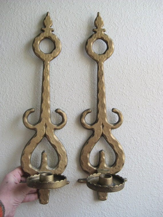 Large Metal Wall Sconces For Candles : Large Pair 60 s Sconces Candle Sconce Pair Vintage Homco