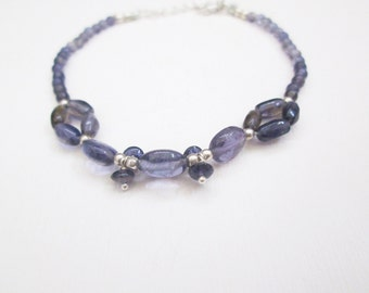 Iolite bracelets, Iolite beads jewelry, Blue Iolite bracelets with Sterling Silver findings, Beaded bracelets, Gemstone bracelets for women