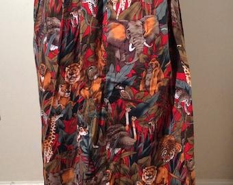 Vintage Handmade 1980s Jungle Print Long Animal Amazement Skirt! Jungle Party!