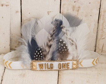 Wild One- White, Gray and Gold Feather Headband, Indie Headdress, Feather Crown