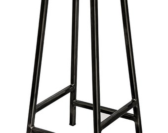 Industrial Steel and Oak Barstool