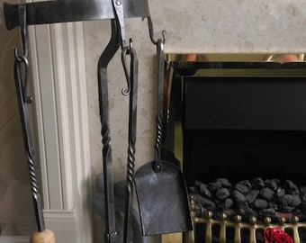 Hand forged 3 piece fire side set