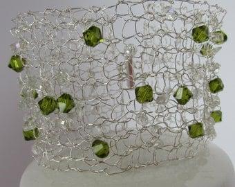 Silver and Green Amethysts cuff bracelet. Silver Amethysts and crystal cuff. Silver cuff bracelet. Beaded Cuff bracelet. Bridal jewellery.