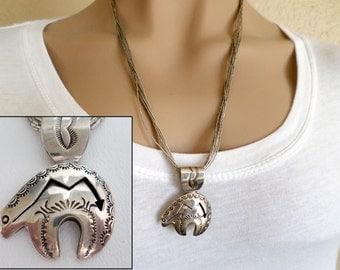 Delgarito Sterling Silver Zuni Bear Pendant Necklace on 24 inch 10 Strand Liquid Silver, Navajo Native American, Southwestern, ID 261148444