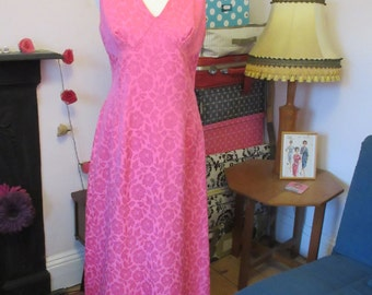 1960s Full Length 'Carnegie' Evening Dress- Candy Pink Brocade- Fully Lined- VGC- Approx Size 14-16