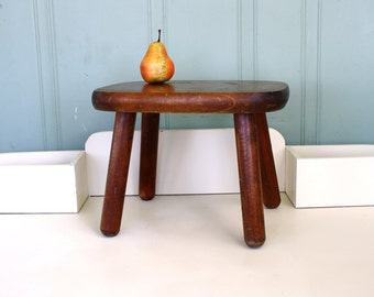 Wood Foot Stool Milking Stool Rustic Cottage Decor