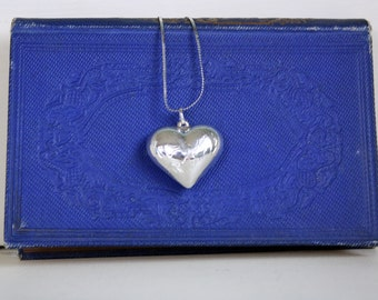 Vintage Sterling Silver Puffy Heart Pendant Necklace A Heart for your Sweetheart