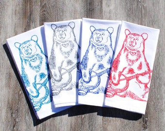 Cloth Napkins - Screen Printed Napkins Set of Four - Washable Reusable Cotton - Unique House Warming Gift - Bear Playing Banjo