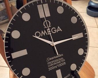 Omega Seamaster Dial Face Wall Clock, Wall Clock, Christmas Present, Game Room Clock, Man Cave Clock