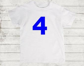 Four Year Birthday Organic American Apparel T-shirt. Custom Any Color. Fourth Birthday. 4 Years