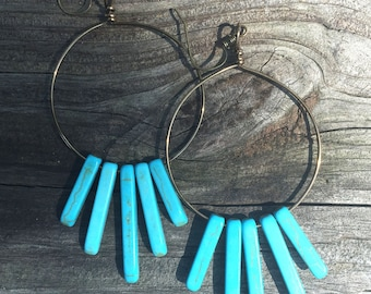 Brass hoops with turquoise stones