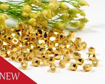 Diamond Cut Bead, 2.5mm, Faceted Bead, Gold Plating, Tarnish Resist, Lead Free, Solid Brass Bead, 1.5mm Hole, RETAIL - 50 PCS/order