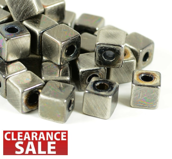 8mm, cornerless square, rounded cube spacer, antique silver color, light weight, resin bead, large hole bead  - 25 pcs/ pkg