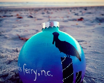 Pelican Sunset Ornament-- Customize with your own town name, family name, ect.