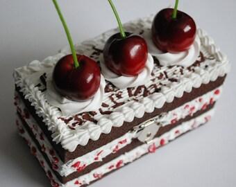 Decoden Black Forest Gateau Wooden Trinket/Jewellery Box - Fake cake!