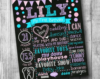 First Birthday Chalkboard Poster - Girl - Customized 1st Birthday Chalk board - Custom Printable Sign - Polka Dot - Purple Pink Teal