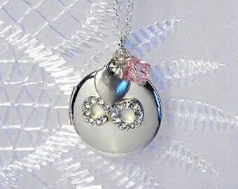 Infinity Locket, Engraved Little Girls Locket, Flower Girl Gift, Personalized Locket, Birthstone Locket for Little Girls