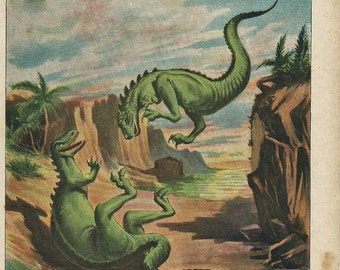 "1900 MEGALOSAURUS FIGHTING. DINOSAURS Antique fine Chromolithograph. ""Scientific World Nineteenth  Century"". 115 years old nice print."