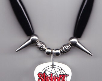 Slipknot James Root #4 White Guitar Pick Necklace - 2015 Tour
