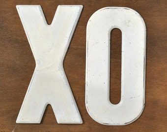White Industrial Metal Letters - XO
