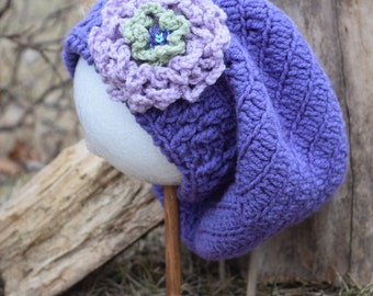 Hat - beret slouch/purple w flower