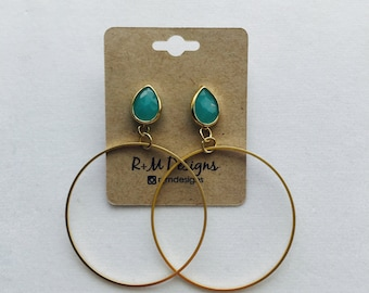 14kt gold filled hoop earrings with gemstones