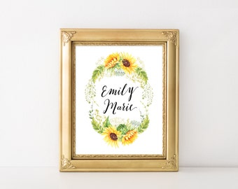 Custom Baby Name Printable Art Print, 8x10 Nursery Decoration, Watercolor Sunflower Wreath, Sunflower Nursery Wall Art Decor, Download
