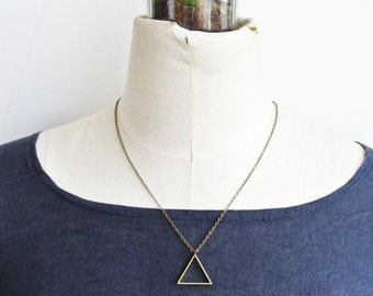 Triangle Brass Geometric Minimalist Necklace