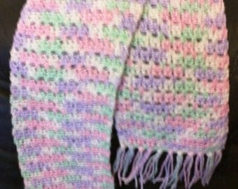 Scarf Crocheted pink, lavender, and green pastels 44