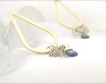 Loyalty London Topaz, Aquamarine, Raw Diamond Drop Earrings, Handmade Earrings, High Quality, Wire Wrapped Briolettes, Goldfill Findings