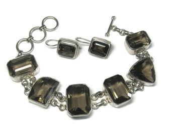 Vintage 90s Smoky Topaz Bracelet Earrings Jewelry Set