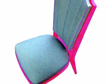 ROCKABILLY -- Neon Pink Chair, denim, 70s design, handsewn, handpainted, design by SophieLDesign