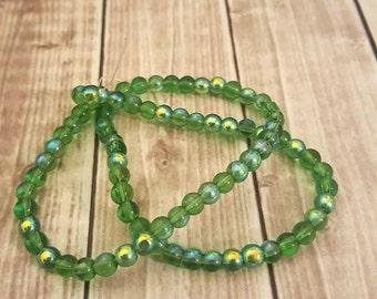 4mm Green Fire Polished Czech Glass Beads Strand