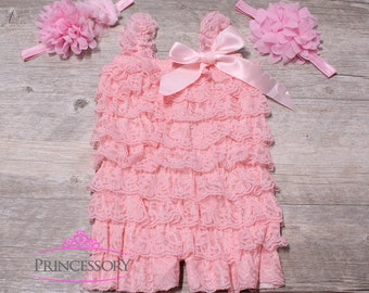 Cake Smash Outfit Girl, Pink Romper, Lace Petti Romper, Baby Romper, Pink Lace Romper, 1st Birthday Outfit, Baby Girl Romper PINK