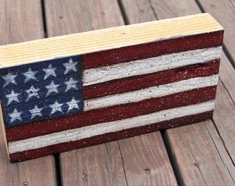 Distressed American Flag Wood Cedar Block, Patriotic Flag, Shelf Sitter, USA