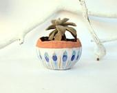 cactus planter, terracotta ceramic handmade white, blue, gold