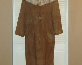 Vintage Brown SUEDE Leather FOX FUR Trim Swing Coat~M~
